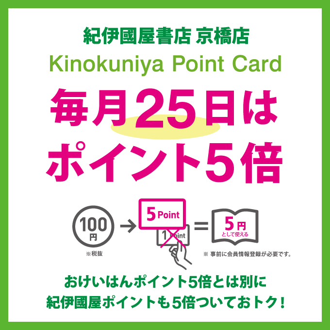 紀伊國屋書店:【京橋店】毎月25日ポイント5倍キャンペーン